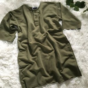 Womens vintage army green olive flowy shirt dress